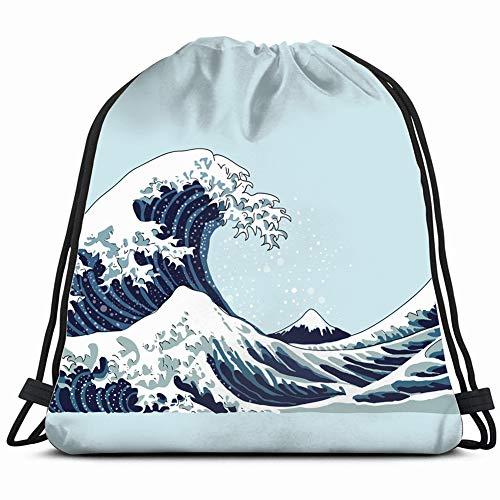 wave japanese motif japan nature parks outdoor Drawstring Backpack Gym Sack Lightweight Bag Water Resistant Gym Backpack for Women&Men for Sports,Travelling,Hiking,Camping,Shopping Yoga