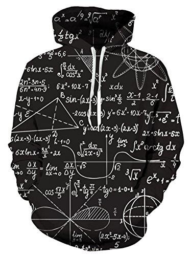 Uideazone Men Women Geometric Numbers Pullover Hoodie Cool Hooded Sweatshirts Black