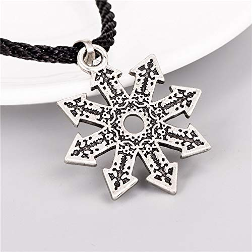 Davitu Pewter Chaos Magic Star Pendant Necklace for Men Jewelry Metal Color: Earrings