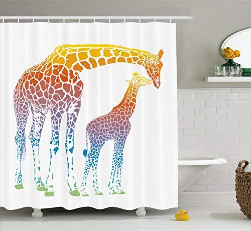 Ambesonne Giraffe Shower Curtain, Mom Kid Giraffe in Rainbow Colors Abstract Art Surrealist Image of Animal, Cloth Fabric Bathroom Decor Set with Hooks, 70