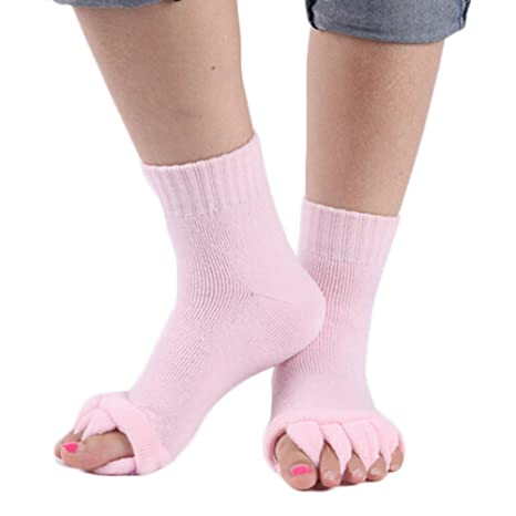 MODEOR 1 Pair Yoga Gym Massage Five Toe Separator Socks Foot ...