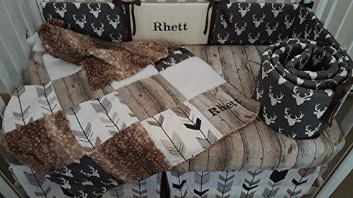 Woodland 1 to 4 Piece baby boy nursery crib bedding Quilt with deer hide minky back, bumper, bed skirt, Dark grey Buck head, Barn Wood, Arrow fletching, White fur, Greys, browns and whites
