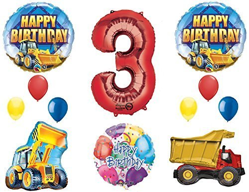 The Ultimate Construction 3rd Birthday Party Supplies and Balloon Decorations ()