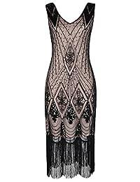 PrettyGuide Women 1920s Gatsby Cocktail Sequin Art Deco Flapper Dress