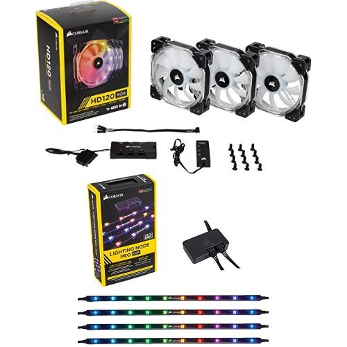 Price comparison product image Corsair HD Series, HD120 RGB LED, 120mm High Performance RGB LED PWM three fans with controller and Corsair Lighting Node PRO