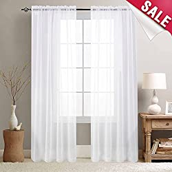 Sheer White Curtains for Bedroom White Semi Sheer Curtain Panels for Living Room 84 inches Long Window Treatment Set Sheer Voile Curtains, Rod Pocket, 2 Panels