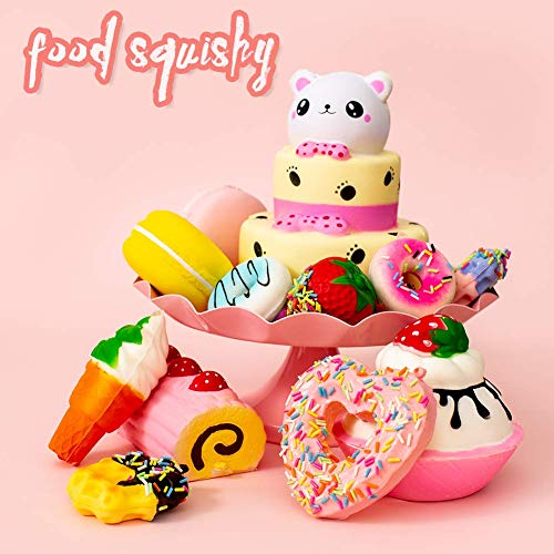 SYYISA Jumbo Squishies Slow Rising [12-Pack]: Bear Cake, Ice Cream, Donut, Macaron, Starawberry Cake, and Waffles Kawaii Soft Food Squishy Toys - Squishys are Great Sensory Toys for Kids! Comes in Mix by SYYISA (Image #6)
