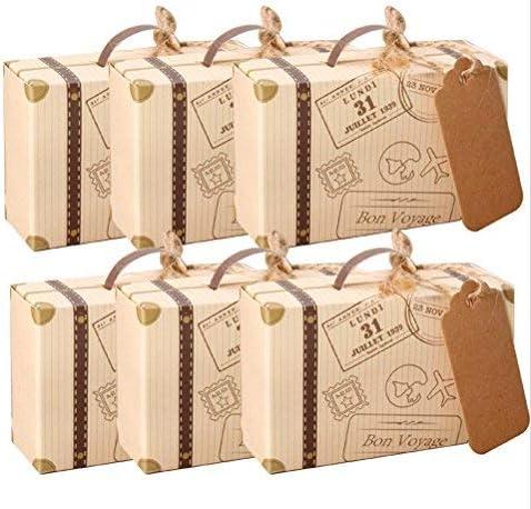 amajoy 50pcs Mini maleta boda Favor caja con cordel de yute de ...