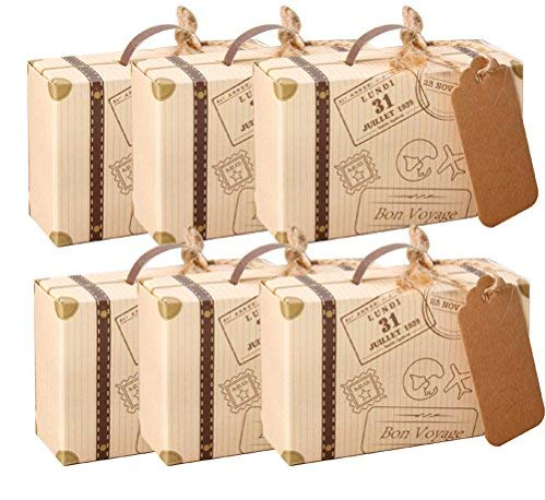 amajoy 50pcs Mini maleta boda Favor caja con cordel de yute de tarjeta de papel Kraft y Candy caja para fiesta de…