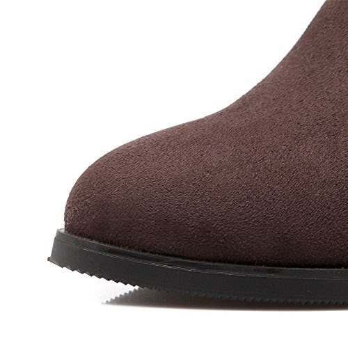 Suede Imitated Kitten Pull on Brown Boots top Heels Solid Women's High AmoonyFashion EgqwOO