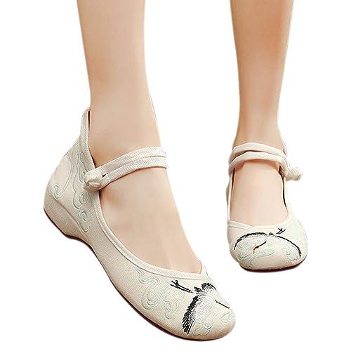 DAZISEN Zapatos Bordados de Mujer - Zapatos con Cuñas Retro Estilo Chino Mary Jane: Amazon.es: Zapatos y complementos
