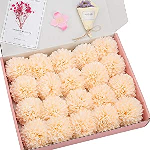Anndason 20 PCS Artificial Flowers Silk Artificial Fake Flowers Wedding Party Home Decoration (Champagne) 62