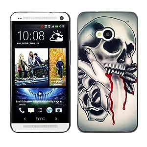 Be Good Phone Accessory // Dura Cáscara cubierta Protectora Caso Carcasa Funda de Protección para HTC One M7 // Vampire Tattoo Fang Blood Ink Biker
