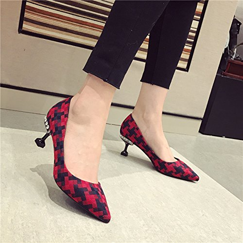 High 35 Plaid Shallow Work Heel 6Cm Mouth Lady MDRW Heels Shoe Spring Red Cloth Leisure Elegant Comfortable Single Head Sharp Fine Intellectual HqEwX1