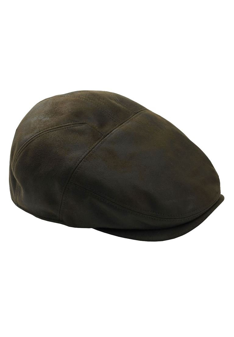 Kingsize Men's Big & Tall Ivy Cap In Faux Leather, Brown Distressed 3Xl