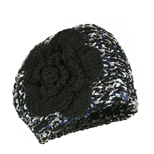 Black Rosette Flower Chunky Knit Headband, Crochet Adjustable Ear Warmer