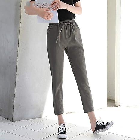 AKDYH Pantalones De Mujer Verano Hielo Seda Algodón Lino Cintura Alta Pantalones Fino Delgado Suelto Noveno para Mujeres Pantalones, Gris, Talla Única: Amazon.es: Deportes y aire libre