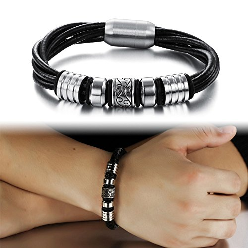 Alimab Vintage magnetic Bracelet metal multilayer Leather Braided Rope bracelets & bangles with magnetic buckle claps good for health