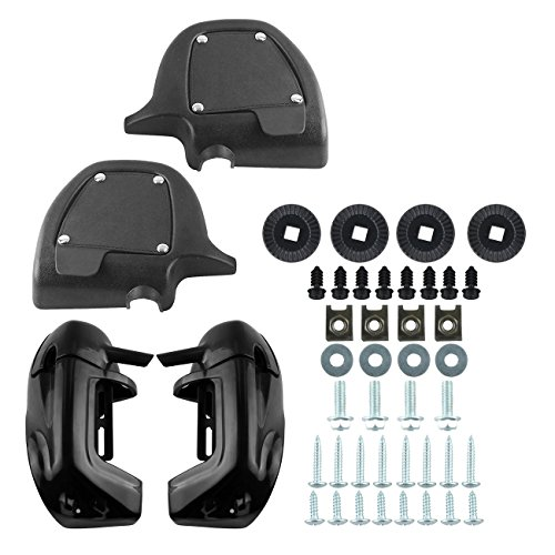 Ambienceo Black ABS Plastic Lower Vented Leg Fairing Set with Hardware for Harley Touring FLT FLHT FLHTCU FLHRC Road King Street Glide Electra Glide Road Glide - Street Glide Fairing Bracket
