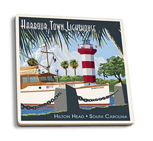 Lantern Press Hilton Head, South Carolina - Harbour Town Lighthouse (Set of 4 Ceramic Coasters - Cork-Backed, Absorbent)