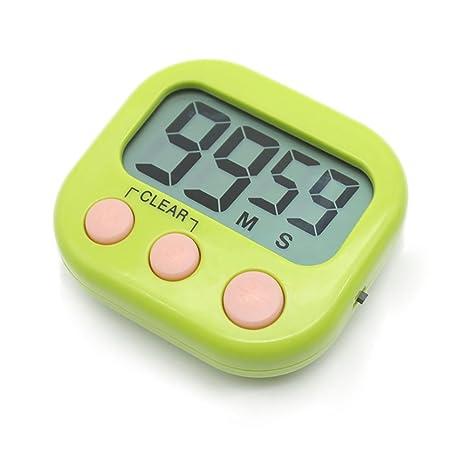Temporizador digital electrónica cocina cocina nuevo reloj con alarma magnética y soporte, minuto segundo para arriba cuenta verde de cuenta ...