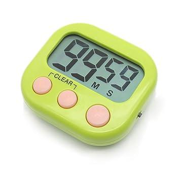 Compra Temporizador digital electrónica cocina cocina nuevo reloj con alarma magnética y soporte, minuto segundo para arriba cuenta verde de cuenta ...