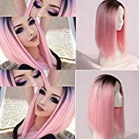 Hebei Heat Resistant Synthetic Lace Front Ombre Wig Long Straight Bob Cosplay DIN
