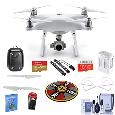 DJI Phantom 4 Advanced + Basic Kit - Bundle with Hardshell Backpack, 64/32GB MicroSDXC Card, Spare Battery, Quick-Release Propellers, Propeller Guard, Collapsible Pad, Polar LED Light Bars, and More