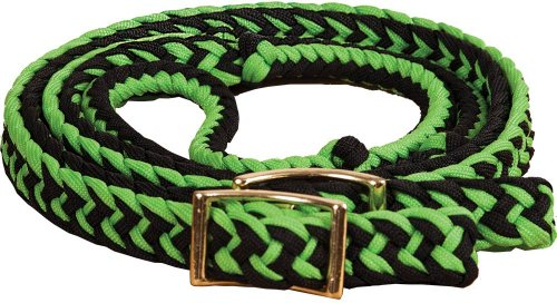 Soft Grip Reins - New Braided Barrel Racing Reins - Flat w/easy Grip Knots 8ft by Southwestern Equine (Lime & Black)