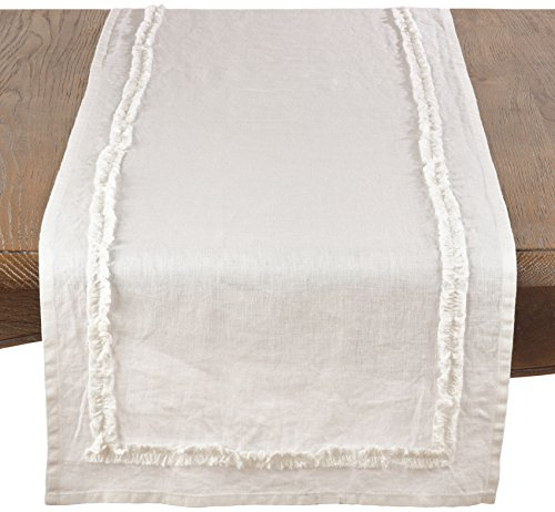 SARO LIFESTYLE Mathilde Collection Ruffled Linen Home Décor (Ruffled Runner Table)