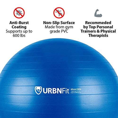 URBNFit Exercise Ball (75 cm) for Stability & Yoga - Workout Guide Incuded - Professional Quality (Blue) by URBNFit (Image #2)