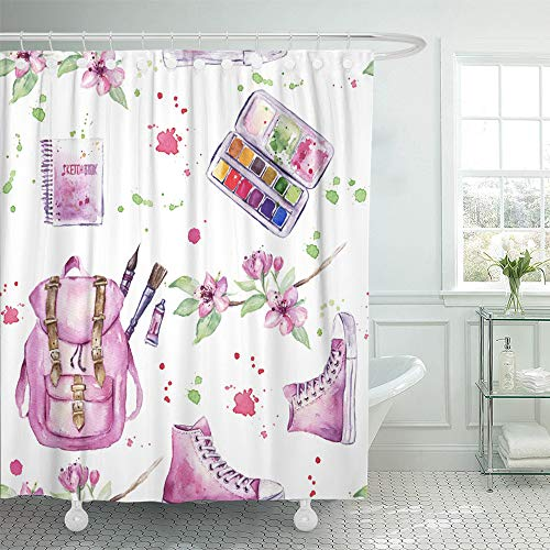 Paintbox Fabric (Emvency Shower Curtain Set Waterproof Adjustable Polyester Fabric Tools Pattern of Watercolor Paint Paintbox Sketchbook Backpack Beautiful 66 x 72 Inches Set with Hooks for Bathroom)