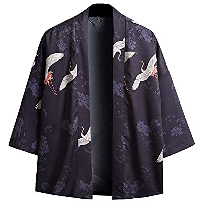 ZooBoo Japanese Kimono Dress Cardigan - Red Crown Traditional Jacket Fox ClothingRobe Costume Bathrobe Sleepwear