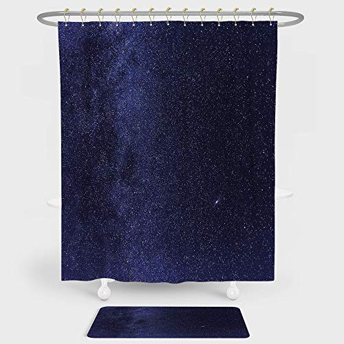 iPrint Dark Blue Shower Curtain And Floor Mat Combination Set Night Sky with Stars Milky Way Cosmos Galaxy Infinite Universe Celestial For decoration and daily use Indigo Dark Blue (Sky Angle Neo Night)