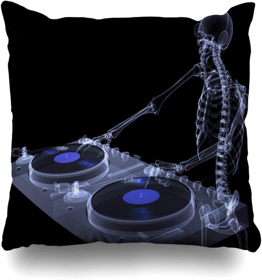 Mesllings Funda de almohada Anatomía auriculares Ray esqueleto Dj Spinning Records Mix Pareja Xray Turntables Calavera Negro Ciencia Home Decor Funda de cojín cuadrado Tamaño 18 x 18 pulgadas con cierre Funda