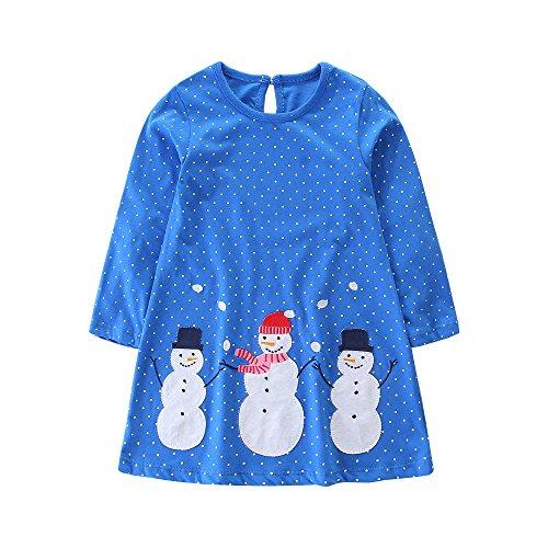 Snowman Mini Dress - FreeLu Girls' Cotton Casual Longsleeve Party