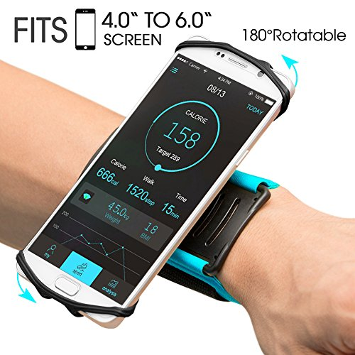 VUP Wristband Phone Holder for iPhone X iPhone 8 8Plus 7 7 Plus 6S 6 5S Samsung Galaxy S8 Plus S7 Edge, Google Pixel, 180° Rotatable, Great for Hiking Biking Walking Running Armband (Blue) ()