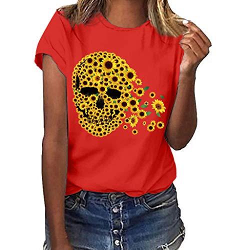 (〓COOlCCI〓Women's Summer Street Style Funny Sunflower Printed Tops T Shirt Short Sleeve Tees Blouse T Shirt Junior Red)