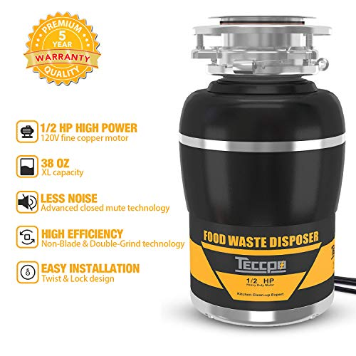 - Garbage Disposal, TECCPO 1/2 HP Garbage Disposals 38 OZ. Capacity with Power Cord, Splash Guard, Disposal Flange, Stopper, Hex Wrench - TAGD01P