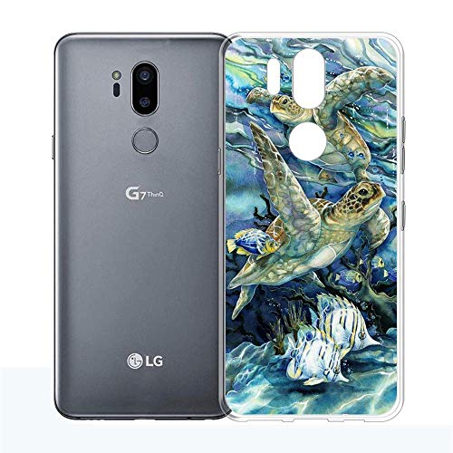 LG G7 Case, LG G7 ThinQ Case,Kocho Sea Turtles Creative UV Printing Design and Flexible Soft TPU and Clear Hard PC Protective Phone Case for LG G7 / LG G7 ThinQ