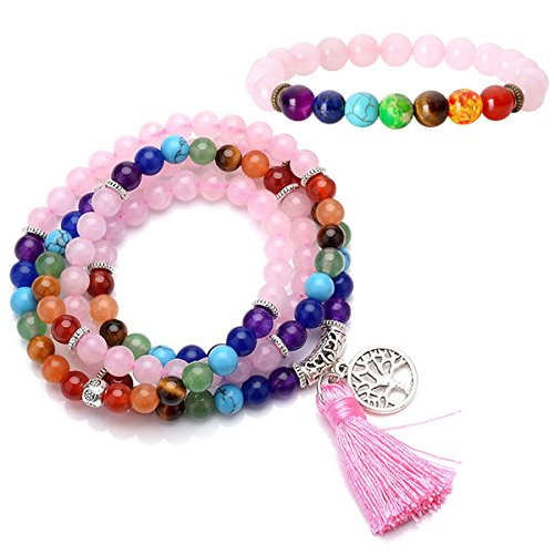Top Plaza 7 Chakra Buddhist Mala Prayer Beads 108 Meditation Healing Multilayer Bracelet/Necklace W/Tree of Life Tassel Charm-2 Pack (Rose Quartz) - Jade Bead Love Heart Bracelet
