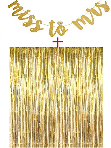 Team Party Decoration (Miss to Mrs Banner,Metallic Tinsel Foil Fringe Curtains(3.2 x 6.4 ft) for Bachelorette Party Favors Decoration Supplies)