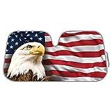 USA Eagle Flag Auto Sun Shade for Car SUV Truck - Stars & Stripes - Bubble Foil Jumbo Folding Accordion