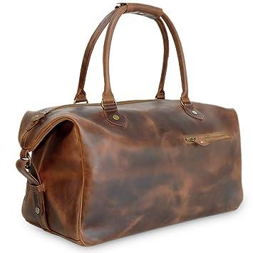 ddaaa8f3423b Premium Brown Leather Weekender Bag for Men - Buckle   Seam  Amazon.co.uk   Luggage