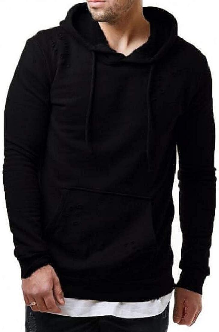 Qhghdgysd Men Sweatshirt Solid Casual Slim Pockets Pullover Hooded Sweatshirts,Black,Small