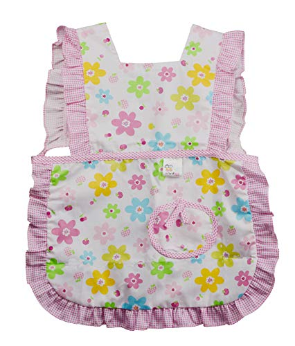Kids Toddler Kitchen Cotton Apron with Pocket,Flower Pattern Child Apron Cooking Baking Painting(Girl Multicolor Floral Pink, 3-5 Years Old ()