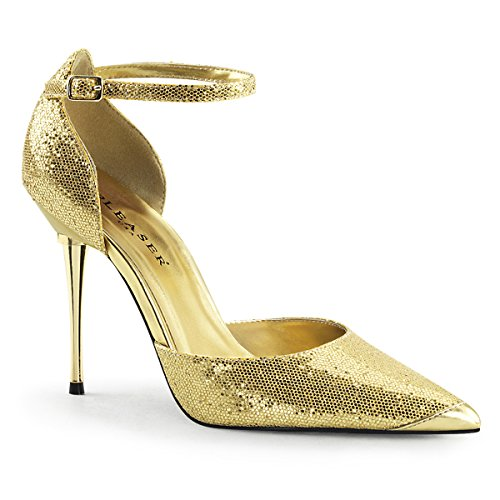 - Pleaser APPEAL-21 Women Metal Stiletto Heel Ankle Strap Pointed Toe d'Orsay Pump, Color:GOLD WOVEN GLITTER, Size:10