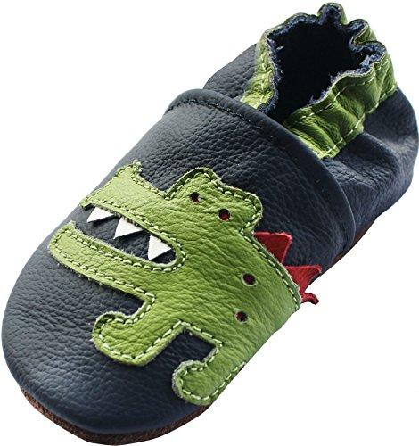 carozoo shark dark blue 12-18m soft sole leather baby boys shoes