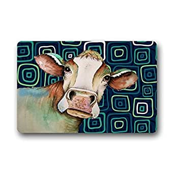 Our Iris Amazing Water Absorption Quick Drying Door Mat - Popular With Cow Farm Drawing Art Glassic Quatrefoil Gree/Blue Doormat 23.6(L) x 15.7(W)