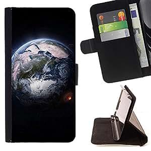 For Sony Xperia m55w Z3 Compact Mini - Design Earth From Space /Funda de piel cubierta de la carpeta Foilo con cierre magn???¡¯????tico/ - Super Marley Shop -
